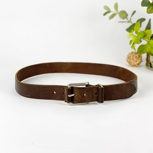 Structure Belt Sturdy Leather Brown USA made 34 ""